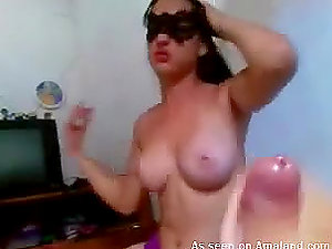 Sex-positive Brazilian in mask sucking her BF's man rod and munches his jizz