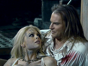 Breathtaking blonde and her friend banged hard by the horny pirate