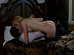 Loveliest blonde chick going up and down on the penis of her exotic paramour