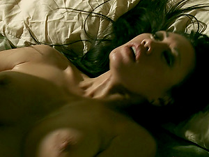 Charming Miko Lee lies down on the couch to be spooned by the horny man