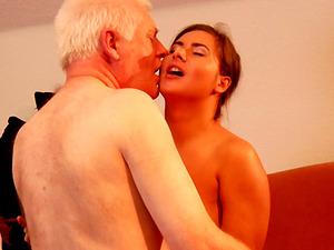 Grandpa rams his hard hard-on into the nice dark-haired chick