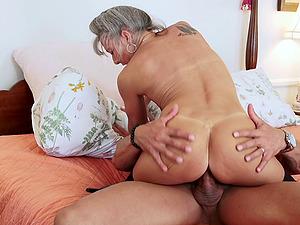 Smallish tits granny hotty and a big jizz-shotgun boy fucking