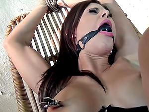 Billie Starlet Strapped Ballgagged Tit-slapped Whipped Vibed