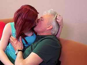 Horny grandpa fucks the cunt of a uber-cute ginger-haired