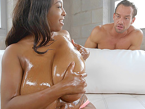Black chick with largest tits ever poked by the milky man sausage