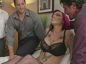 Three guys bang Anna Bell Peaks and jism on her big tits