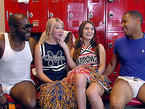 Succulent milky chicks banged by black guys in the locker room