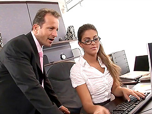 Exotic chick in stockings determines to do the dick railing in the office