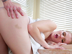 Stacey Leann eventually has a chance to impale herself on the stiff penis