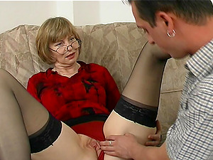 Sheer stockings are gorgeous on this mature man rod whore