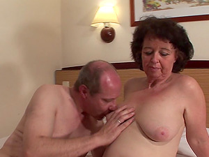 Lengthy thick old dick of a chubby stud fucks the mature tramp