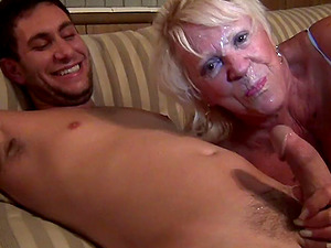 Two lucky grannies providing that stiff dick the best possible sucking