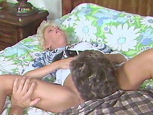Classical blonde sex industry star gets her hairy muff munched and rammed