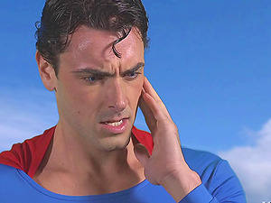 Horny superman comes to help the sexy honeys with their horniness