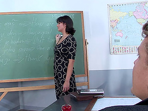 Educator invites a stud to the head of class to fuck her