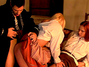 Serving wenches and the master of the mansion have rectal hook-up