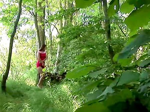 Sweet subjugated butt fucked in the forest by a big dick