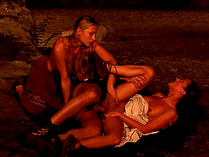 Fireside fuck threesome with bi-otches and a horny fellow
