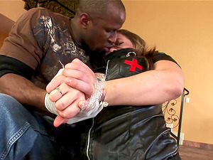 Curvy collared milky damsel fucked up the butt by black dick