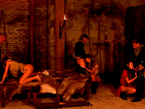 Basement orgy scene with dirty gals taking it in every crevice