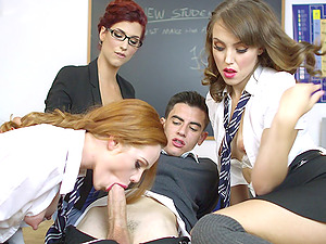 Three truly sexy senoritas getting shagged in the classroom
