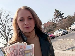Pretty damsel in a sweater paid to get fucked in public