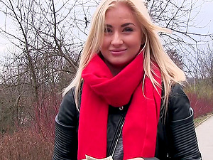 Sexy blonde called Cayla Lyons will take the money and get banged hard