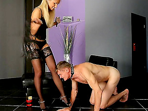 Blonde in nylon stockings busting enormous ballsack while marionette yells
