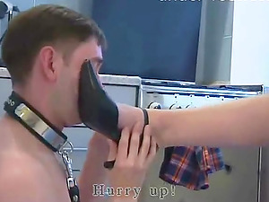 Collared dude licks the toes of his beautiful mistress