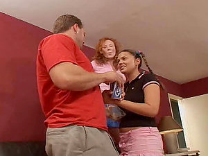 Two nasty ladies share one man and get amazingly fucked
