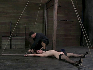 Treating her sensitive private areas in a rough Bondage & discipline way