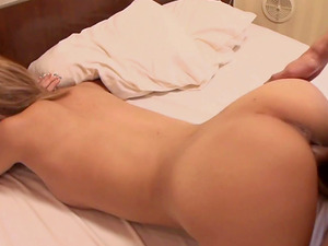 Short-haired blonde from Asia takes the dick from the behind