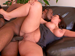 Fat bum brown-haired honey and a big black dick fucking