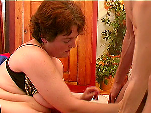 Chubby slag with big tits has her beaver plowed with a thick member