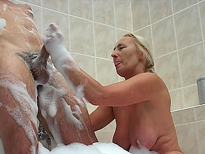 Matured granny getting throbbed gonzo in bathroom