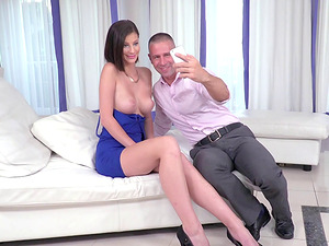Mimi Lion and her ideal tits in a xxx Euro movie