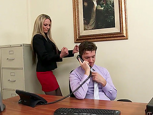 Russian Employee Exploited for Fuck-a-thon By Hot Cougar Chief