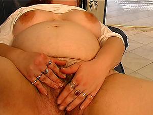 Big tits matured BBW masturbating before providing gigantic dick oral job