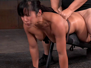 Asian chick with a flawless bootie getting bonked by her horny captors