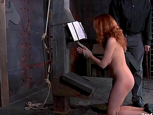 Red-haired restrain bondage sub loves when worked on using plaything in Domination & submission