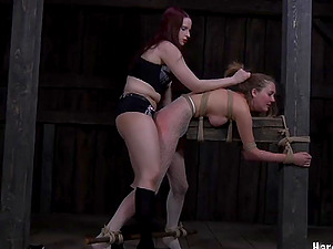Horny restrain bondage dame ravished using strapon in female dom Domination & submission
