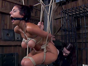 Big-boobed harlot luvs being suspended from the ceiling