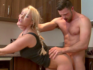 Muscular fellow penetrates Victoria's beaver right there in the kitchen