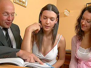 Two hot brunettes Carla and Alice have lovemaking at the interview