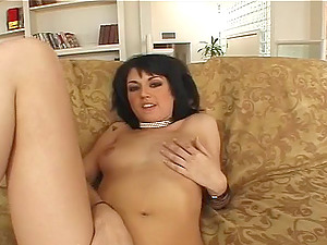 Brown-haired shaven snatch blasted with big shafts hard-core in mmf pornography