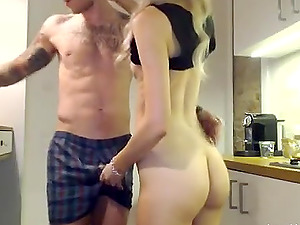 Blonde hot honey has doggystyle fuck in the kitchen completes with big spunk geyser