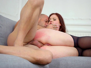 Hot donk cowgirl in underwear throbbed hard-core on sofa