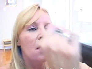 Mature blonde wench deepthroats on a Big black cock and receives a facial cumshot