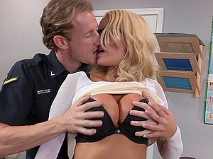 Buxomy blonde Kenzie likes railing on a police officer's fat meat pole