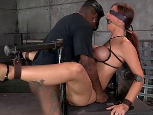 Lengthy hair restrain bondage maiden finger-tickled in Bondage & discipline torment lovely